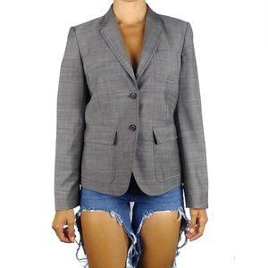 J Crew gray 100% wool button front blazer